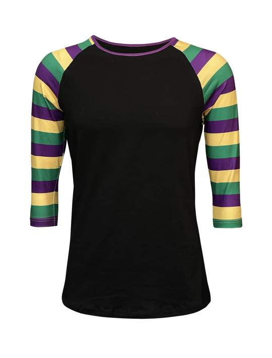 Mardi Gras Striped  Black Raglan