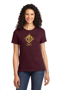 CAT-  Maroon Ladies Glitter Tee