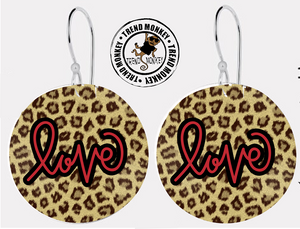 Leopard Print LOVE  Earrings