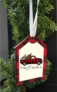 Plaid  Holiday Ornament-  Red Plaid Truck