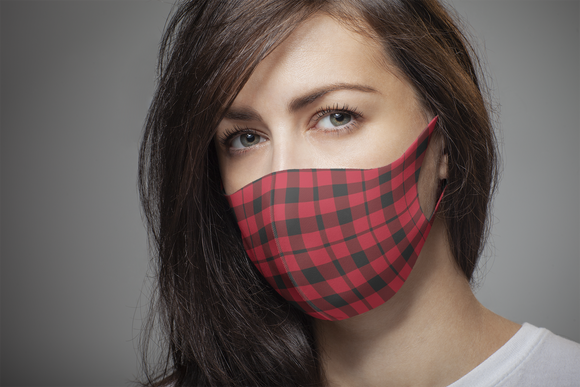 Printed Pattern Mask - Red Plaid
