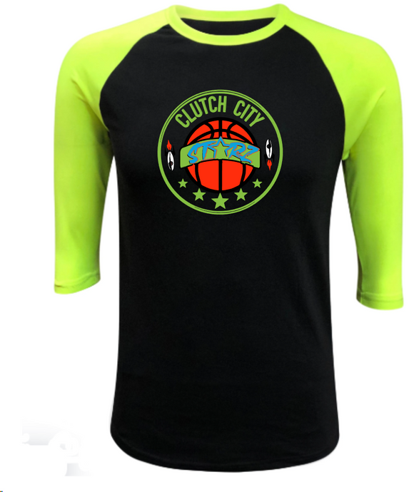 Clutch City Basketball- Neon Yellow Raglan