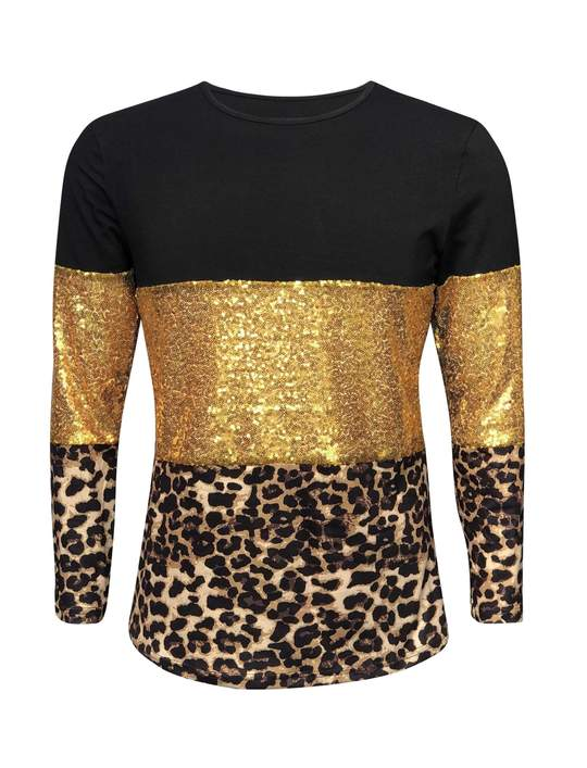 Color Block Gold Sequin Cheetah Shirt