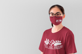 Sablatura non medical Face mask- Peace Love Grizzlies Maroon