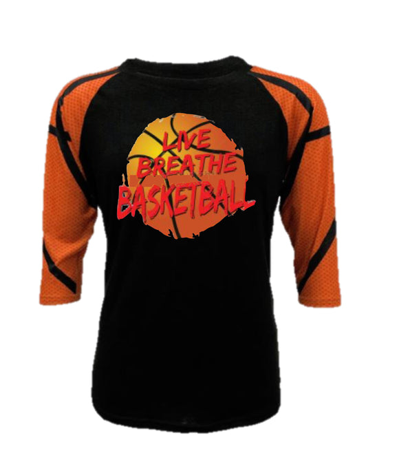 Basketball Raglan - Live Breathe Basketball