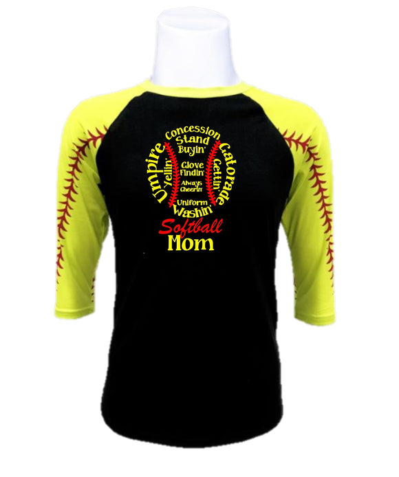 Softball  Raglan- Softball Mom