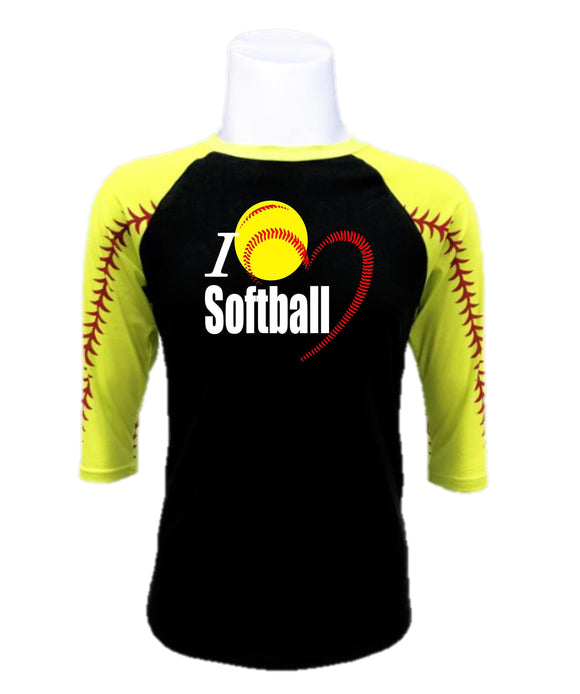 Softball  Raglan- I Love Softball