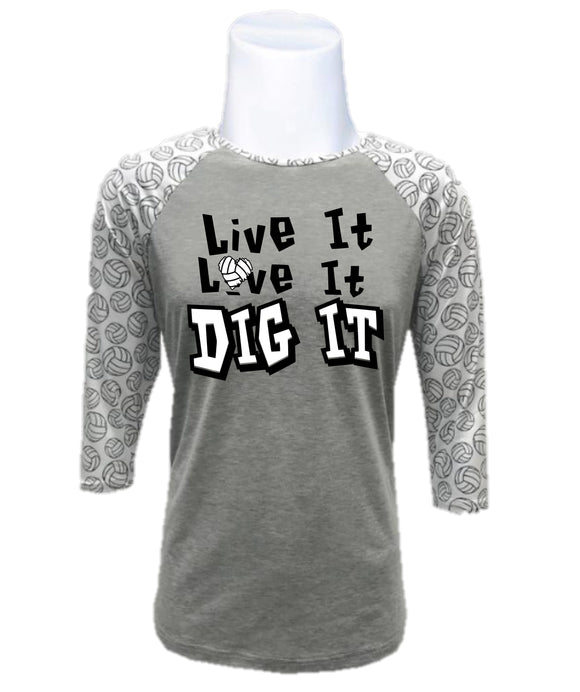 Volleyball Raglan-Live it Love it Dig it