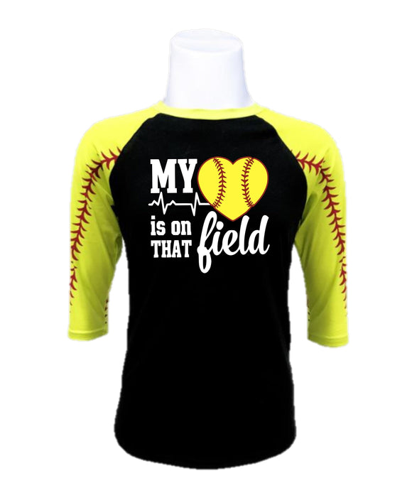 Softball  Raglan- My Heart is on That Field