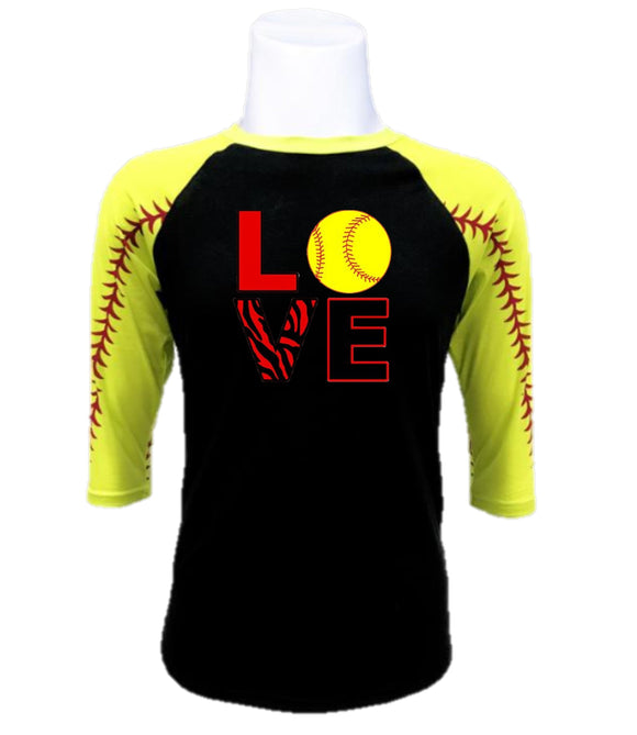 Softball  Raglan- Love Softball
