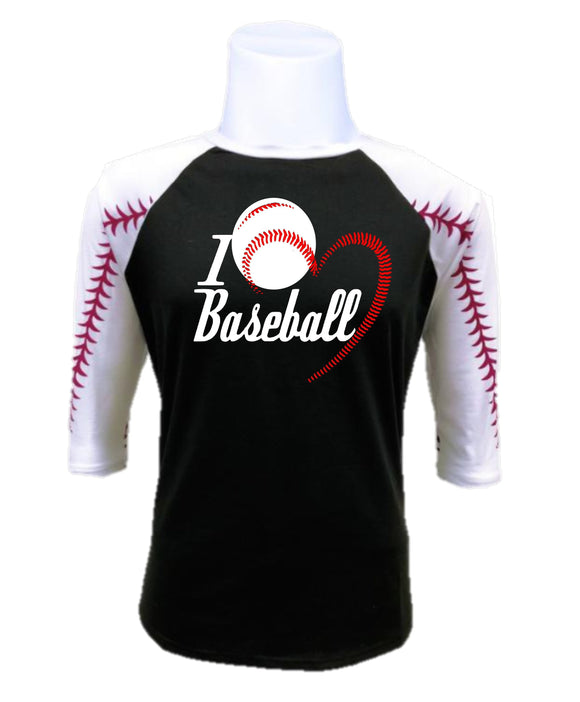 Baseball Raglan- I Love Baseball