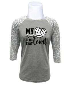 Volleyball Raglan-My Heart is on That Court