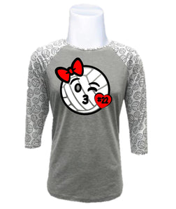 Youth Volleyball Raglan-Volleyball Kisses