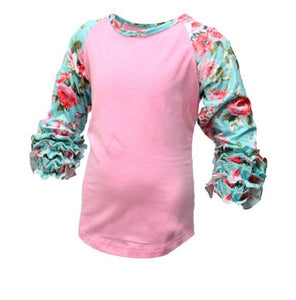 Ruffle Sleeve Floral Top- One Cute Chick