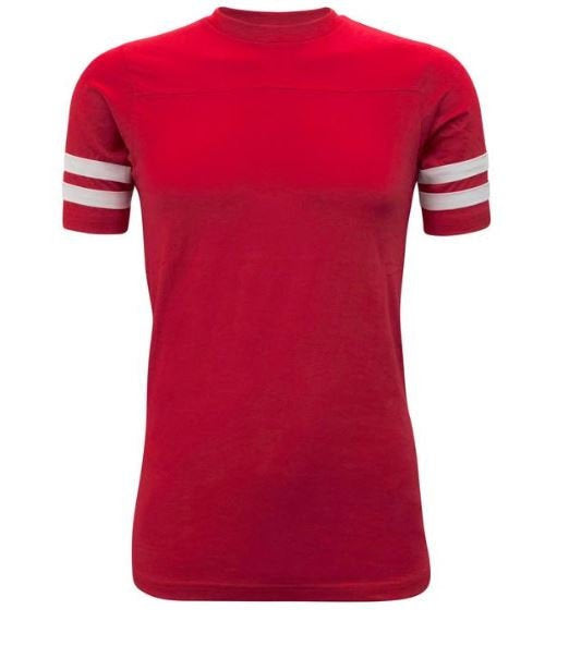 Stripe Sleeve Tshirt- Mock Football Jersey