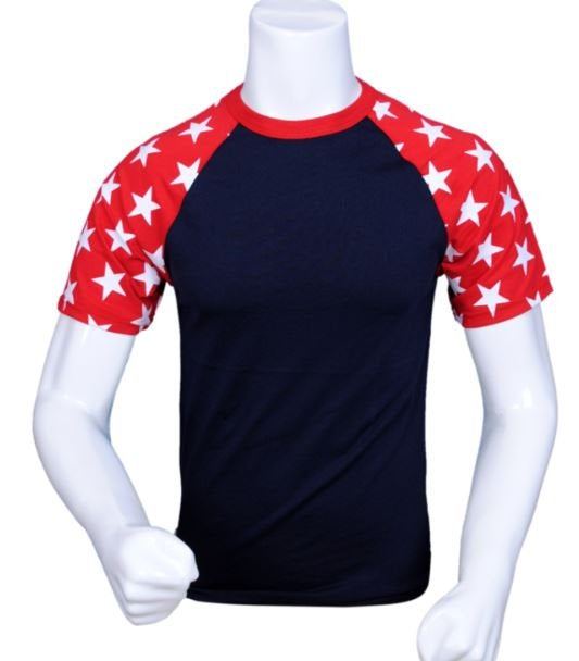 Stars Red White and Blue  Short Sleeve Tshirt-Blank or Custom Design