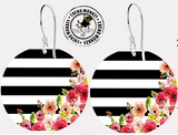 Black & White Stripe Print Earrings