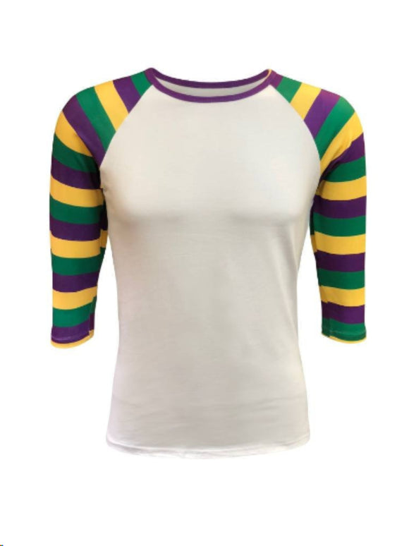 Mardi Gras Striped  White Raglan