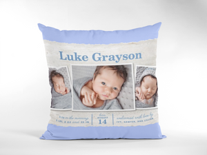 Baby Birth Announcement Photo Pillow- 3 Photos