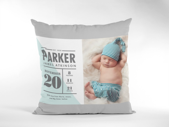 Baby Birth Announcement Photo Pillow- Single Photo