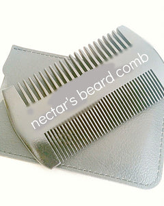 Sandalwood beard styling comb with leather pouch on white background