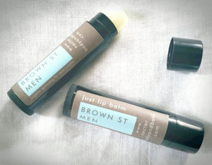 unflavoured men's lip balms in black tubes and brown labels
