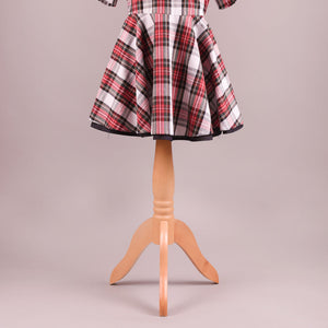Noelle Handmade Traditional Tartan Dress - White
