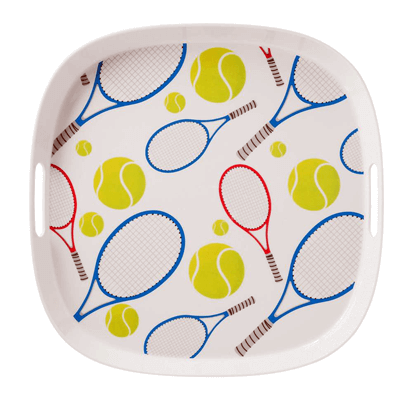 Tennis Team Sports Fun Hand Painted Serving Platters Plate Dip Bowl Funny Party