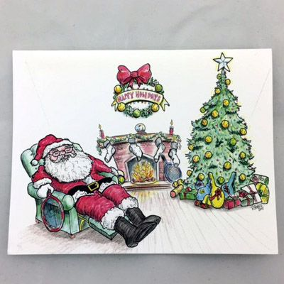 Note cards - Tired Tennis Santa