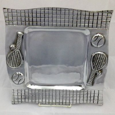 Square Pewter Tennis Tray
