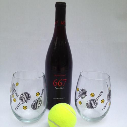 Tennis Stemless Wineglasses