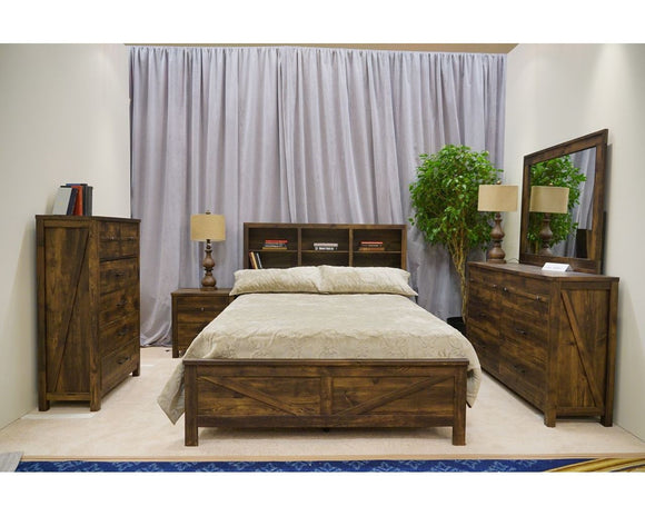 CA Munro Rustic Oak 6pc Twin Bedroom