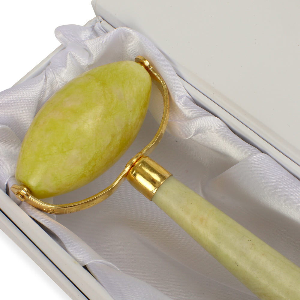 Jade Facial Roller - Natural Chemical Free Crystal in a Signature Silk Lined Box