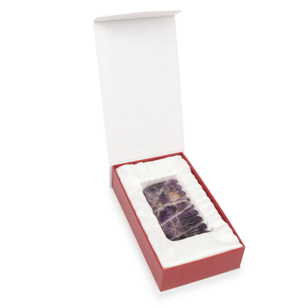 Amethyst Crystal Comb - Natural Chemical Free Crystal in a signature silk lined Box