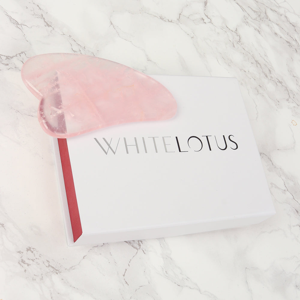 Rose Quartz Gua Sha Tool - Natural Chemical Free Crystal in a Signature Silk Lined Box