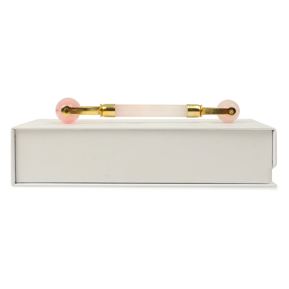 Double Headed Rose Quartz Roller - Natural Chemical Free Crystal in een Silk Lined Box