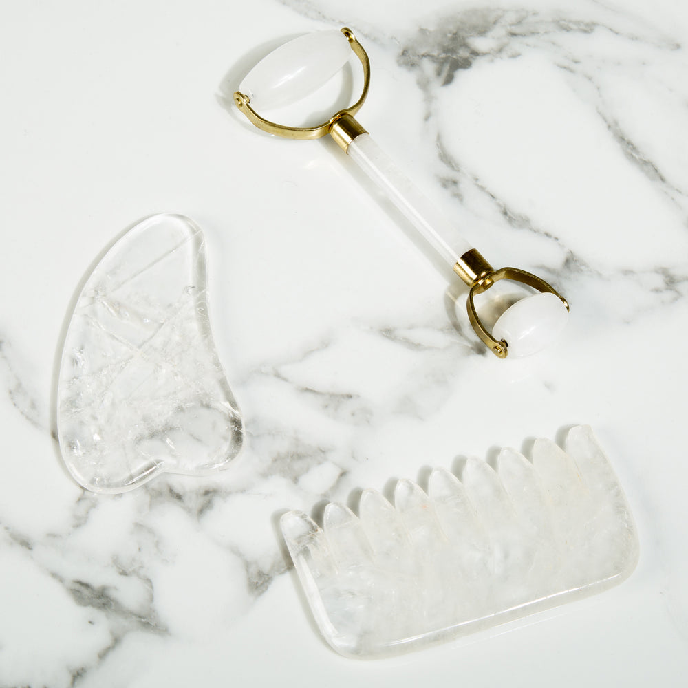 Clear Quartz Gua Sha - Natural Chemical Free Crystal in a Signature Silk Lined Box