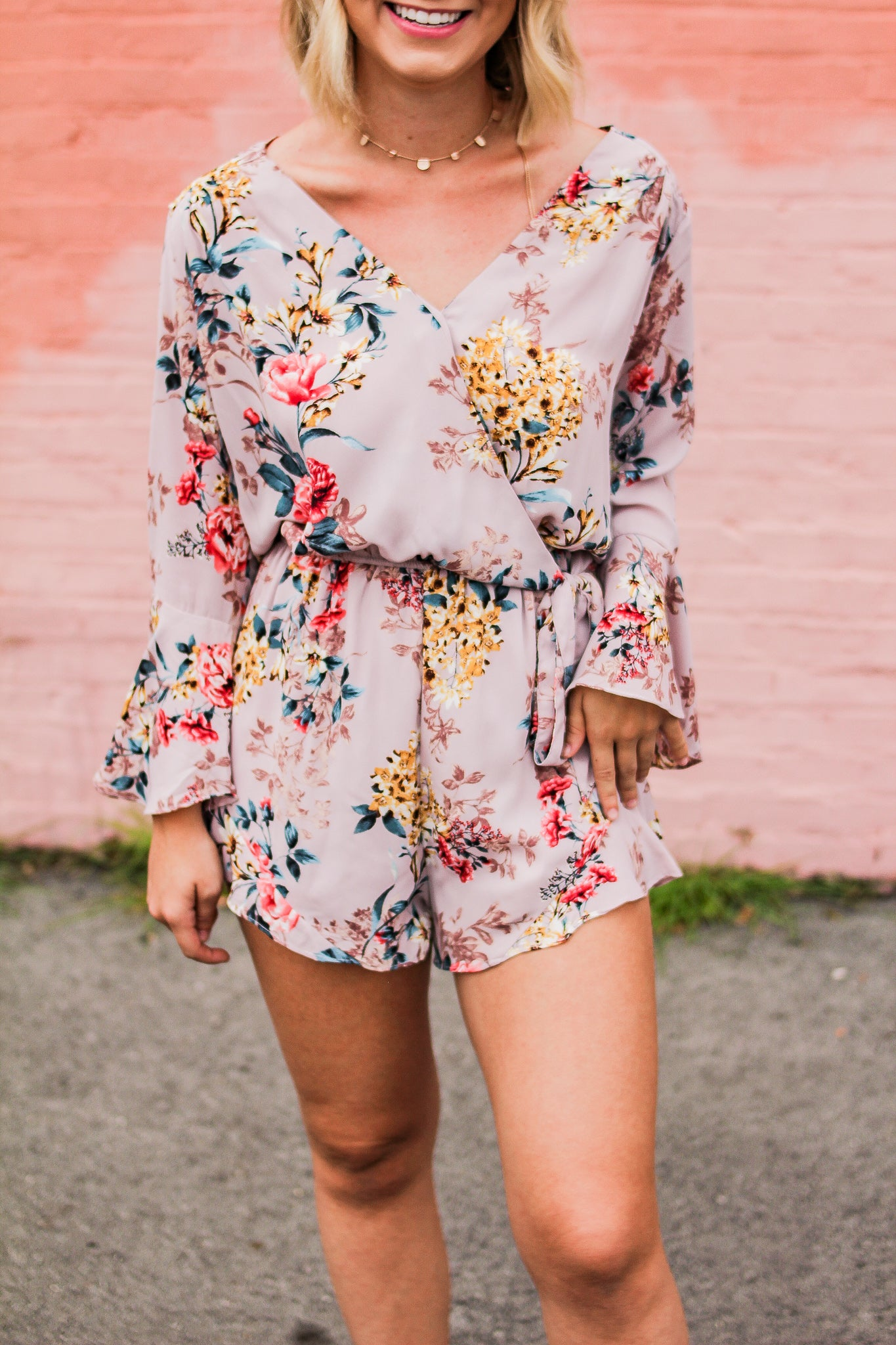109eb33f05db Dinner At Sunset Floral Print Romper (Pink) - Luxe Lilies Boutique