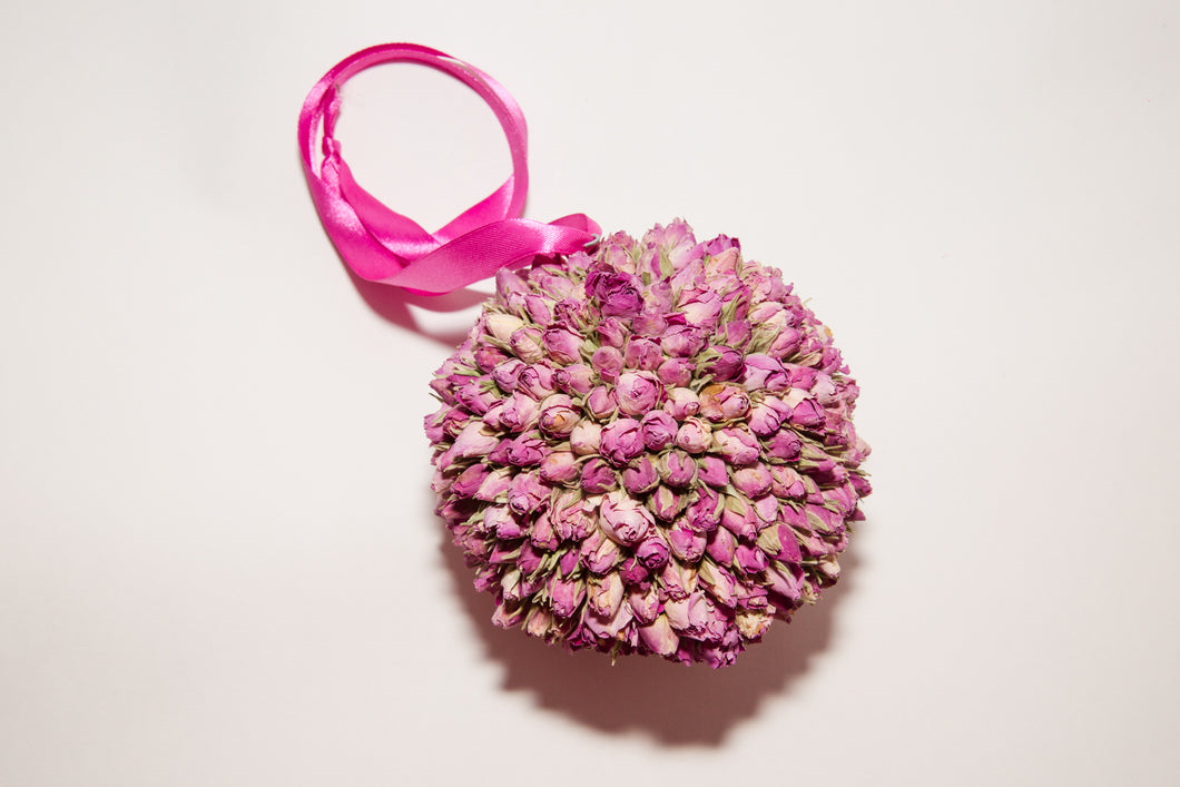 Dried Pink Rosebud Pomander/Kissing Ball