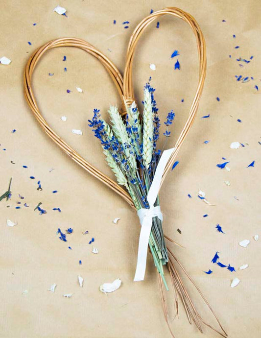 Dried Wheat And Lavender Willow Heart