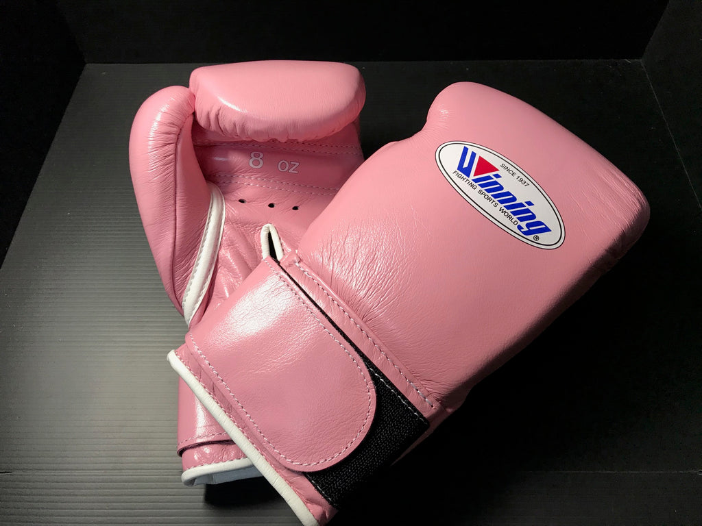 Winning Boxing gloves Professional Velcro tape type 8oz Pink