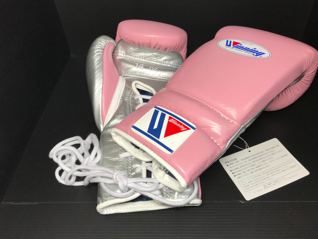 Winning Boxing gloves Professional Lace-up type 14oz Pink