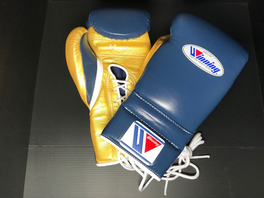 Winning Boxing gloves Professional Lace-up type 14oz Navy Gold Made in  JAPAN MS-500