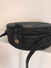 Black straw bag, round, circle bag, rattan bag, Boho Bag, Handwoven Bag, Leather Strap, Shoulder Bag, Crossbody bag