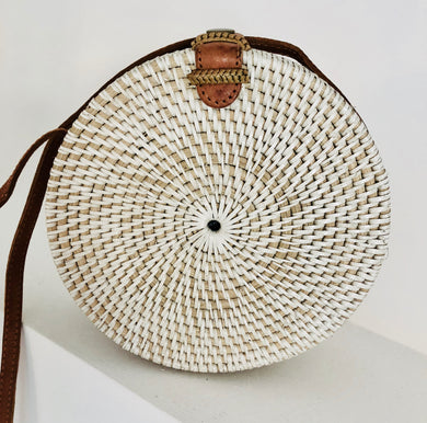 White straw, rattan bag, circle bag, round bag, leather strap, handwoven bag, summer fashion