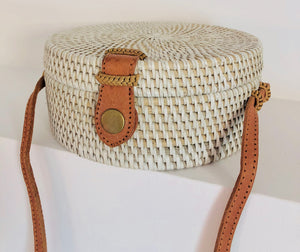 White rattan and straw bag, circle bag, round bag, handwoven bag