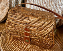 Rattan Bag, Straw Bag, Boho Bag, Handwoven Bag,  Leather Strap, Shoulder Bag, Crossbody bag