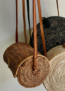 Rattan Bag, Straw Bag, Boho Bag, Handwoven Bag, cylinder style, Leather Strap, Shoulder Bag, Crossbody bag