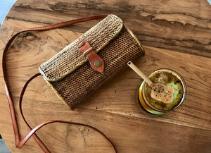 Wallet, style natural grass bag, Rattan bag, Straw Bag, Boho Bag, Handwoven Bag, Leather Strap, Shoulder Bag, Crossbody bag