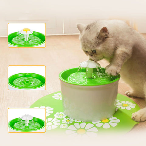 Automatic Drinking Fountain (1.6L) - Flower Style - distinctoffers
